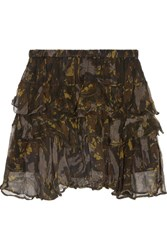 Iro Dicie Tiered Ruffled Camouflage Print Crepon Mini Skirt Black