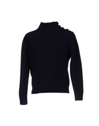 Gray Turtlenecks Dark Blue