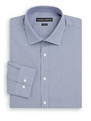 Vince Camuto Slim Fit Micro Check Cotton Dress Shirt Navy White