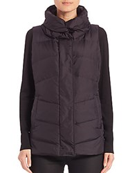 Eileen Fisher High Collar Puffer Vest Midnight
