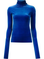Les Animaux Velour Turtleneck Jumper Blue