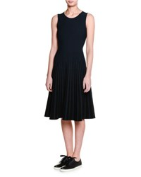 Tomas Maier Sleeveless Knit Fit And Flare Dress Black Navy