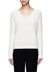 Vince 'Vee' Cotton Chunky Rib Knit Sweater White