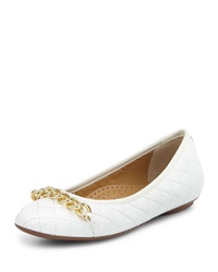 Neiman Marcus Shandra Quilted Ballet Flat White