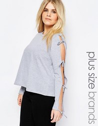 Pink Clove Jersey Top With Bow Sleeve Detail Grey