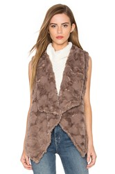 Bishop Young Repeat Faux Fur Vest Taupe