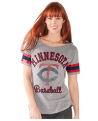 G3 Sports Women's Minnesota Twins Double Play T Shirt Gray