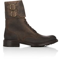 O'keeffe Men's Double Buckle Strap Leather Lace Up Boots Dark Brown Dark Grey Dark Brown Dark Grey