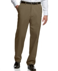 Haggar Classic Fit Microfiber Performance Flat Front Dress Pants Taupe