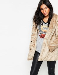 Mela Loves London Hooded Faux Fur Coat Light Brown