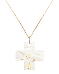 Nanis Mother Of Pearl And Diamond Cross Pendant Necklace
