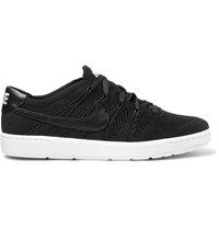 Nike Tennis Classic Ultra Leather Trimmed Flyknit Mesh Sneakers Black