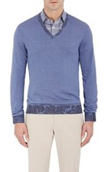 Etro Paisley Detailed V Neck Sweater Blue