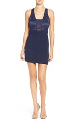 Dear Moon Women's Lace Bodice Body Con Dress Navy