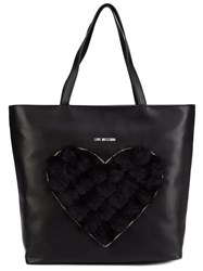Love Moschino Faux Fur Heart Tote Black