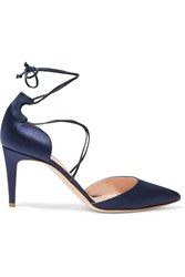 Rupert Sanderson Irma Leather Trimmed Satin Pumps Midnight Blue