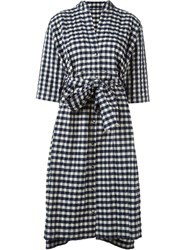 Daniela Gregis Oversized Gingham Shirt Dress Blue