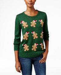 Karen Scott Gingerbread Man Christmas Sweater Only At Macy's Marine Green Marled