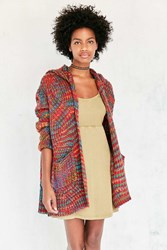 Ecote Rainbow Stitch Hooded Cardigan Novelty