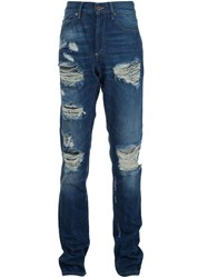 Off White Distressed Jeans Blue