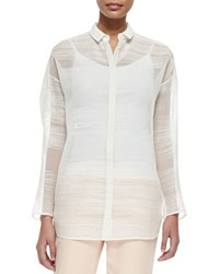 Lafayette 148 New York Mylene Sheer Blouse Raffia