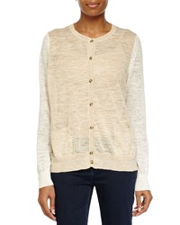 Halston Sheer Button Up Sweater Linen White Heath Women's