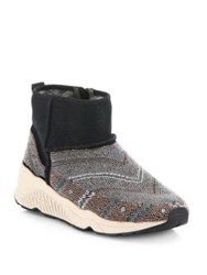 Ash Mohican Beaded Suede And Shearling Booties Black Multi