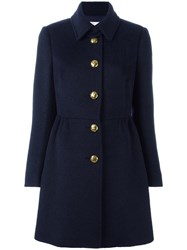 Red Valentino Single Breasted Coat Blue