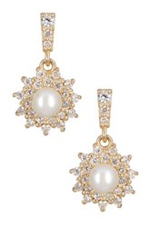Candela 14K Yellow Gold 4Mm Freshwater Pearl And Cz Petite Flower Drop Earrings White