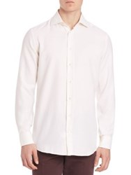 Luciano Barbera Solid Cotton Sportshirt Ivory