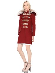 Ermanno Scervino Military Style Wool Blend Coat W Fur