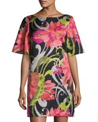 Trina Turk Floral Jacquard Half Sleeve Shift Dress Multi