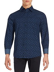 Ben Sherman Paisley Printed Cotton Shirt Navy