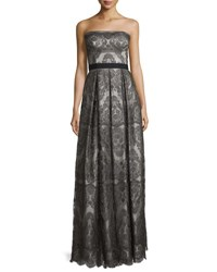 Catherine Deane Strapless Pleated Metallic Lace Gown Gunmetal Silver