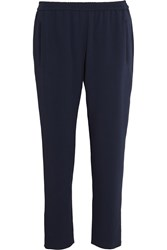Stella Mccartney Tamara Cropped Stretch Crepe Tapered Pants Storm Blue