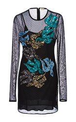 Daniele Carlotta Sequin Embellished Bird Mini Dress Black Grey