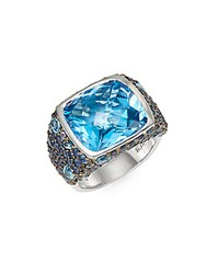 Effy Blue Topaz Sapphire And Sterling Silver Ring