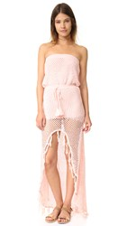 Minkpink Woven Together Crochet Dress Shell Pink