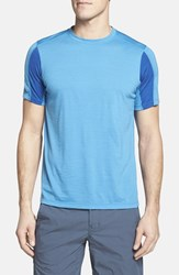 Men's Ibex 'W2' Merino Wool Blend Crewneck T Shirt Regatta Blue