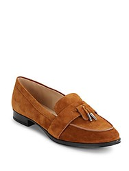 Via Spiga Moc Toe Leather Loafers Luggage