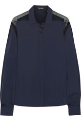 Marios Schwab Lace Paneled Cotton Blend Shirt Storm Blue