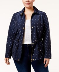 Charter Club Plus Size Dot Print Anorak Jacket Only At Macy's Intrepid Blue Combo