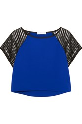 Milly Cropped Jersey Crepe And Mesh Top Blue