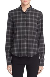 Helmut Lang Women's Fitted Plaid Button Front Shirt