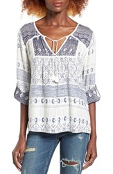 Roxy Women's Lucky Blue Print Peasant Top