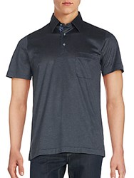 Yves Saint Laurent Solid Cotton Polo Black Grey