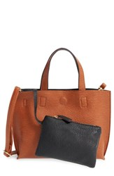 Street Level Reversible Faux Leather Crossbody Mini Tote And Wristlet Brown Brown Black