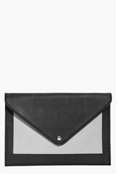 Boohoo Envelope Pocket Front Clutch Bag Grey
