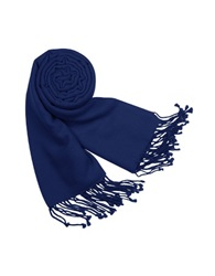 Forzieri Solid Pashmina And Silk Fringed Shawl Navy Blue