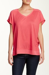 Olivia Moon Sheer Trim Tee Pink